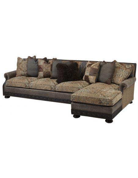 Luxury Leather & Upholstered Furniture Cool sofa with chaise lounge. High end furnishings. 556