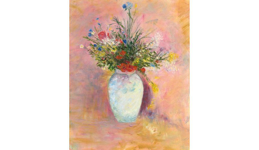 Original Oil Paintings By Artist: Anne-Marie Debuissert Crimson cosmos, commissioned art work