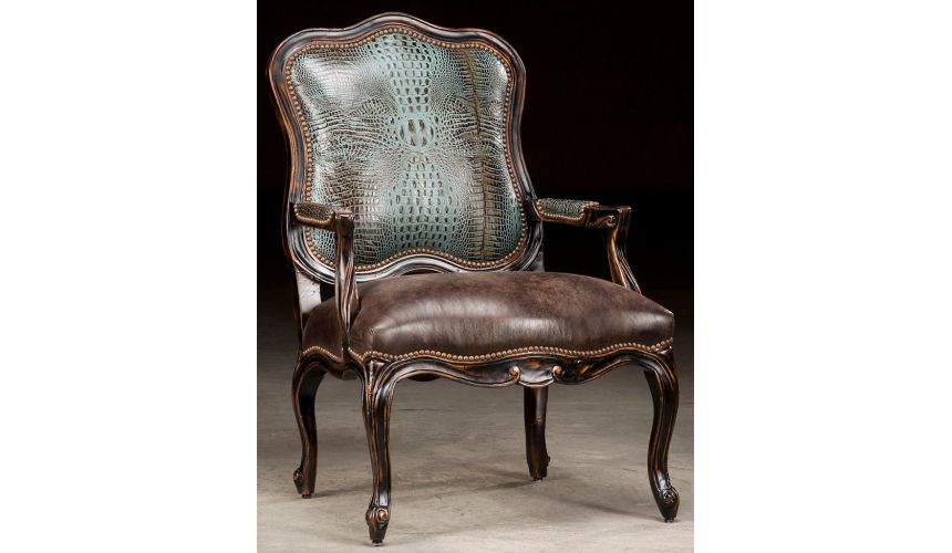 Luxury Leather & Upholstered Furniture Croc Leather Accent Chair