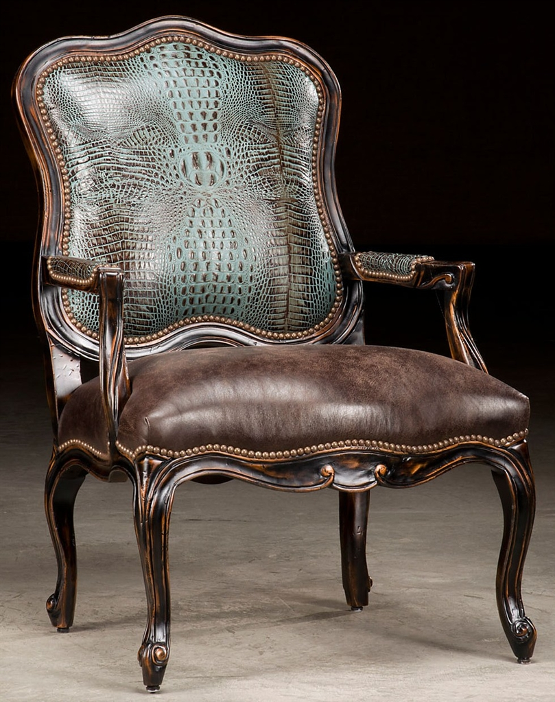 Luxury Leather Chairs croc leather accent chair