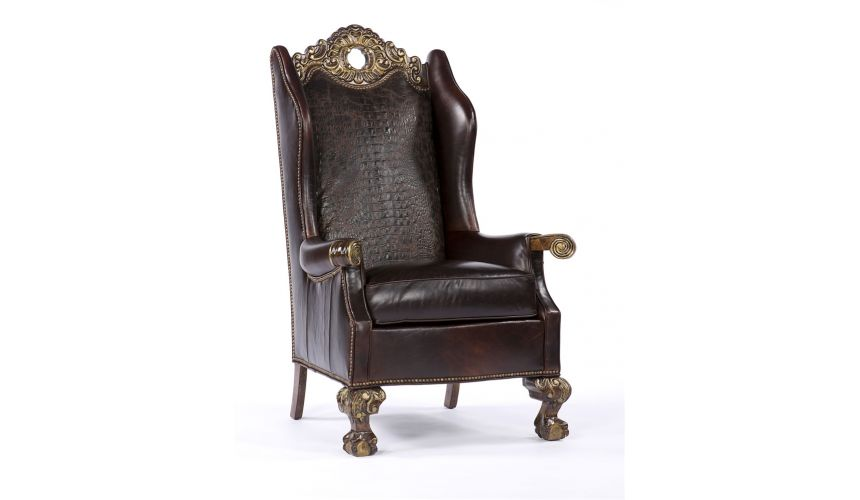 Luxury Leather & Upholstered Furniture Croc Leather Carved Frame Chair