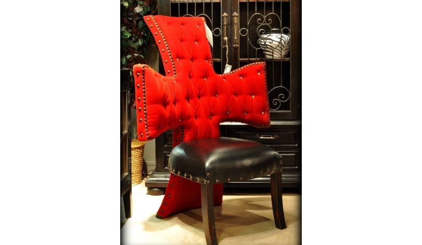 Luxury Leather & Upholstered Furniture Cross chair, tufted red velvet and black leather seat