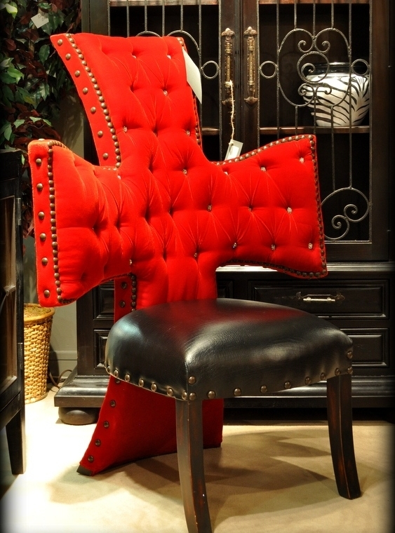 Luxury Leather U0026 Upholstered Furniture Cross Chair, Tufted Red Velvet And  Black Leather Seat