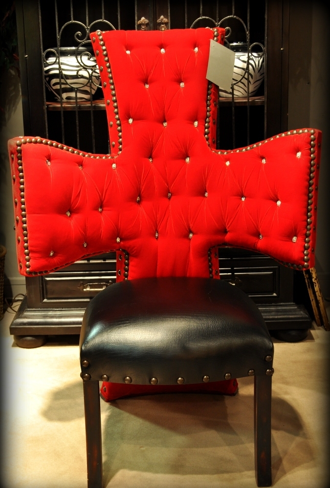 Cross Chair Tufted Red Velvet And Black Leather Seat