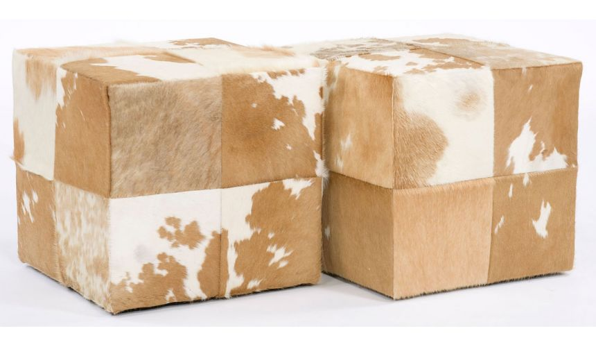 Luxury Leather & Upholstered Furniture Cube ottomans in hair on hide leather. 13