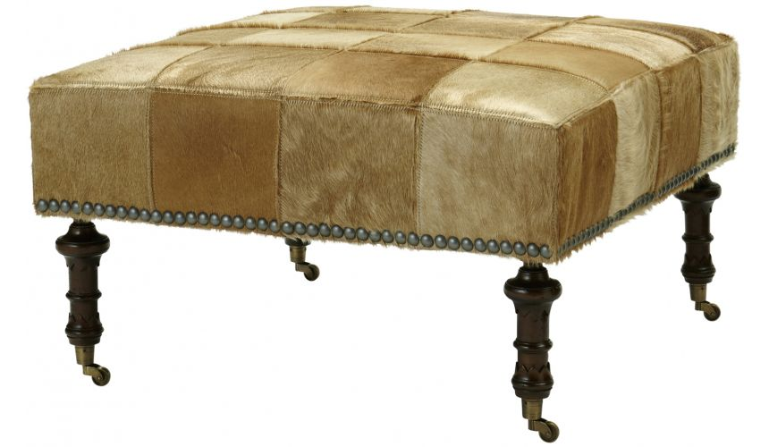 Luxury Leather & Upholstered Furniture Upholstered Nail-head Ottoman