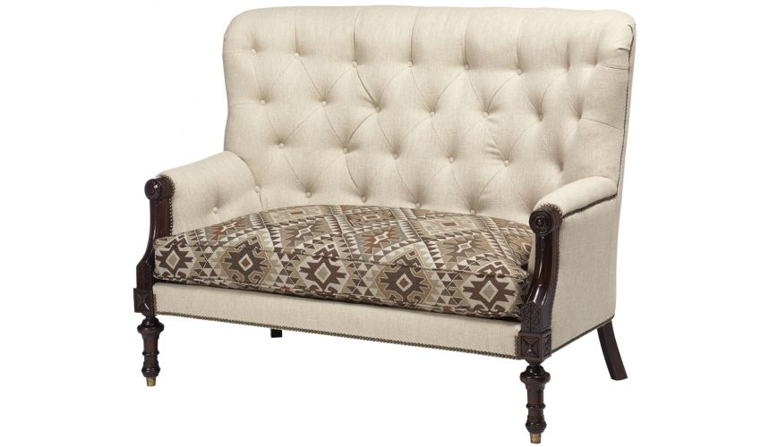 Luxury Leather & Upholstered Furniture Tufted Backrest Arm Chair