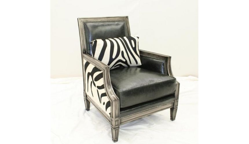 CHAIRS, Leather, Upholstered, Accent Luxurious Savanna After Dusk Chrome Accent Chair