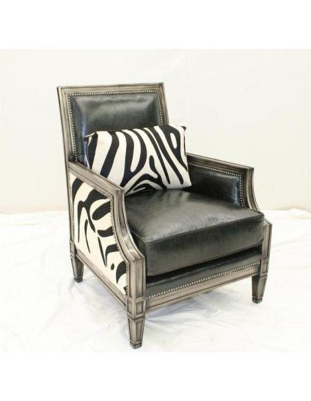 Luxury Leather Furniture Dark Chrome Chair