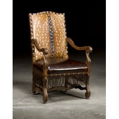 Luxury Upholstered Furniture, Deer Hide and Leather Arm Chair