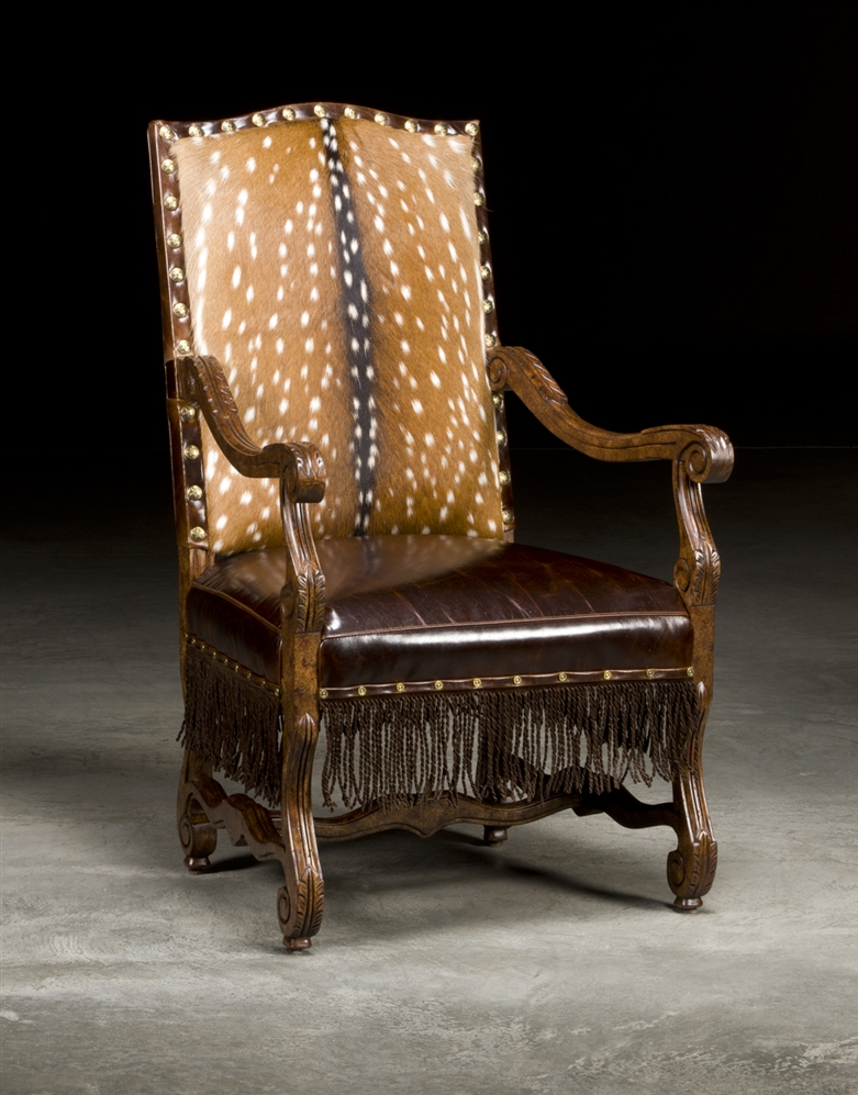 Dining Chairs Luxury Upholstered Furniture, Deer Hide And Leather Arm Chair