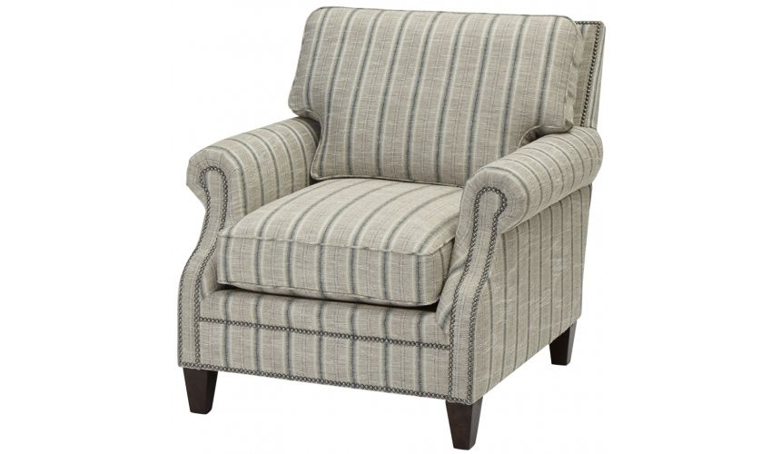 Luxury Leather & Upholstered Furniture Upholstered Arm Chair with Nail Head Trims