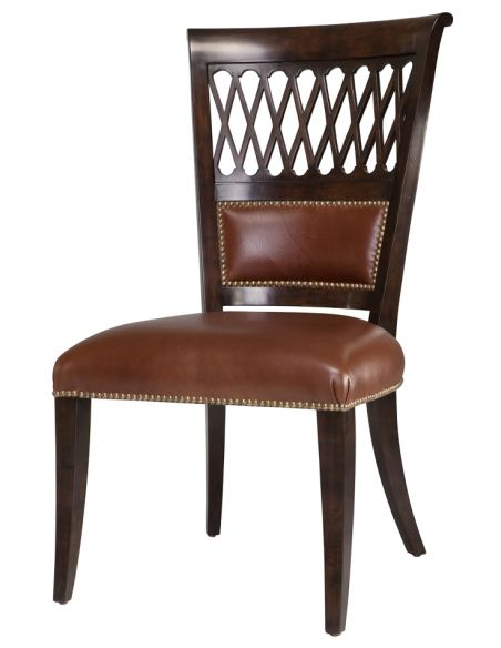 Dining Chairs Dining side chair with leather seat and brass nailing. 65