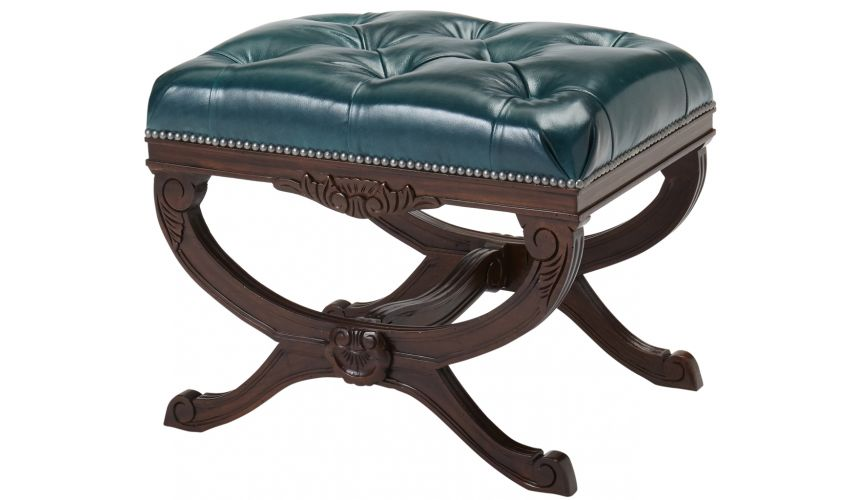 Luxury Leather & Upholstered Furniture Tufted Leather Ottoman Stool