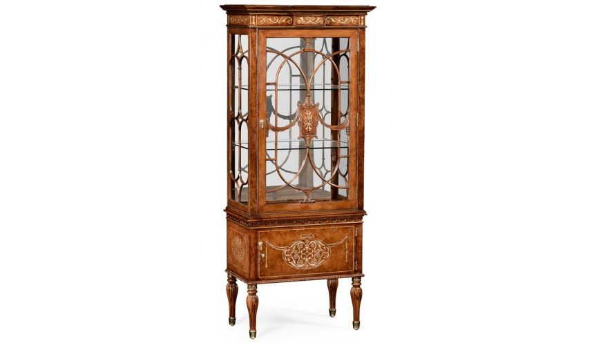 Breakfronts & China Cabinets Slender Display Cabinet in Rectangular Shape-22