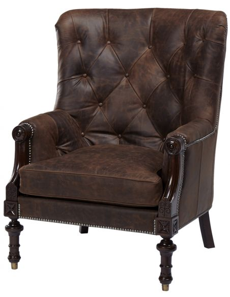Luxury Leather & Upholstered Furniture Tufted Leather Arm Chair