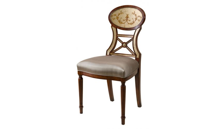 Dining Chairs High end dining room furniture with silvered glomis decoration