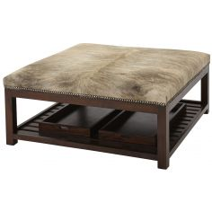 Upholstered Ottoman with Trays