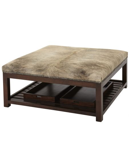 Luxury Leather & Upholstered Furniture Upholstered Ottoman with Trays