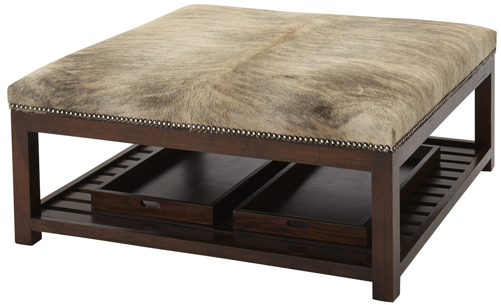 Luxury Leather Upholstered Furniture Ottoman With Trays
