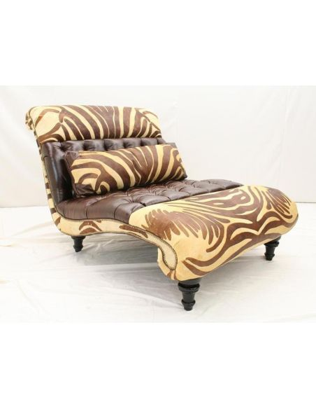Luxury Leather Double Chaise Tufted