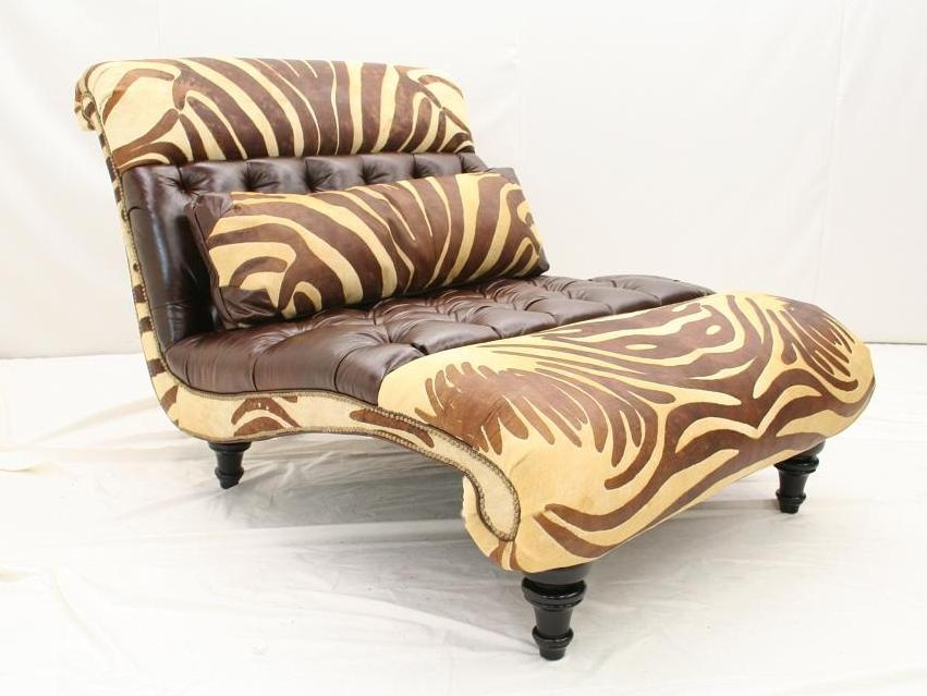 luxury leather double chaise with tufted leather and zebra in the wild hide. Black Bedroom Furniture Sets. Home Design Ideas