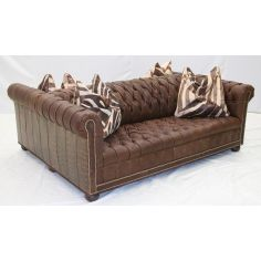 Double Sided Tufted Leather Sofa, High End Furniture