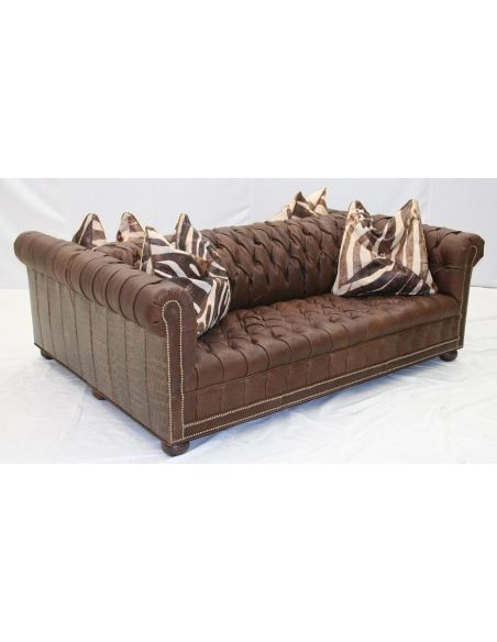 SOFA, COUCH & LOVESEAT Double Sided Tufted Leather Sofa, High End Furniture