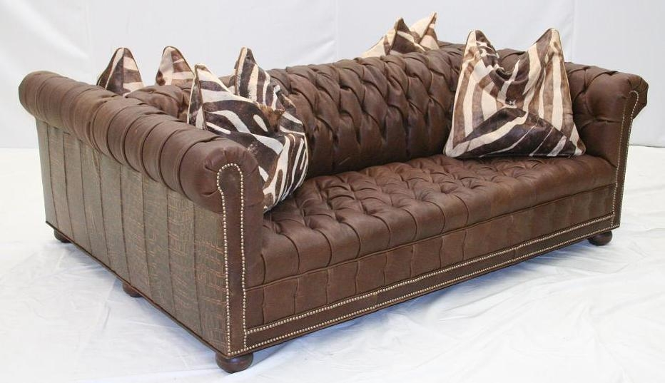 Double sided tufted leather sofa high end furniture for High end sofas for sale