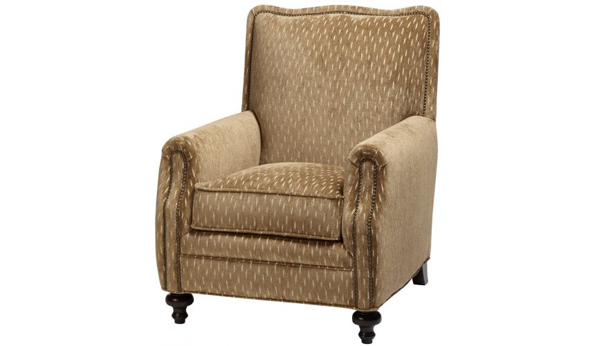 Luxury Leather & Upholstered Furniture Upholstered Arm Chair in Natural Tan