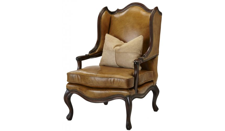 Luxury Leather & Upholstered Furniture Leather Wingback Arm Chair