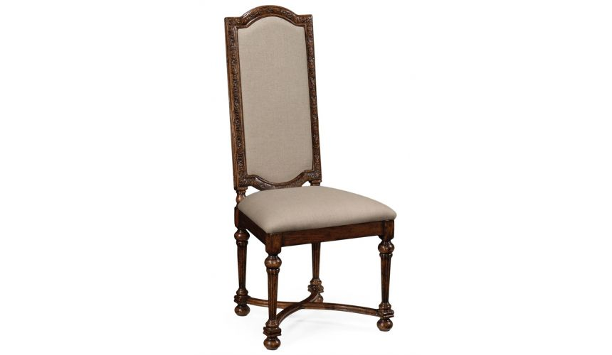 Dining Chairs Jacobean Style High Back Upholstered Dining Chair