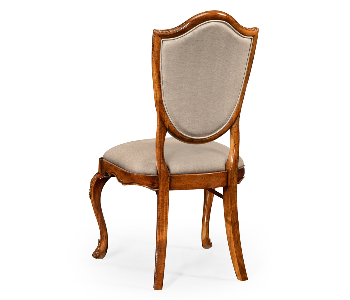 Upholstered side dining chair with cabriole legs for Dining chairs with upholstered seats