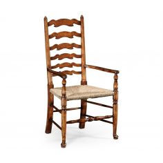Country Ladder Back Dining Arm Chair