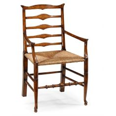 Country Style Ladder Back Armchair with Rush Seat