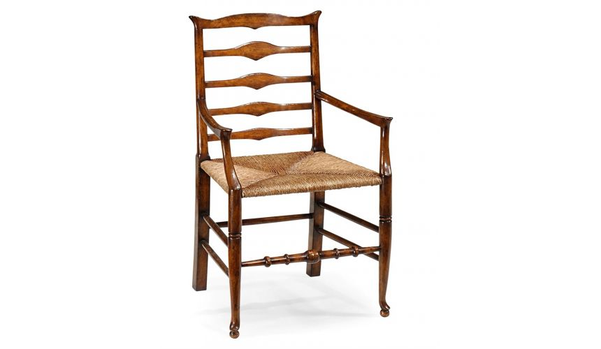 Dining Chairs Country Style Ladder Back Armchair with Rush Seat