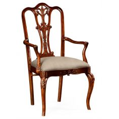 18th Century Mahogany Dining Armchair with Cabriole Legs