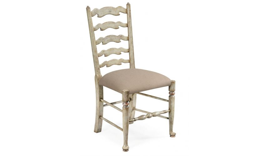 Dining Chairs Country Style Grey Ladder Back Dining Side Chair