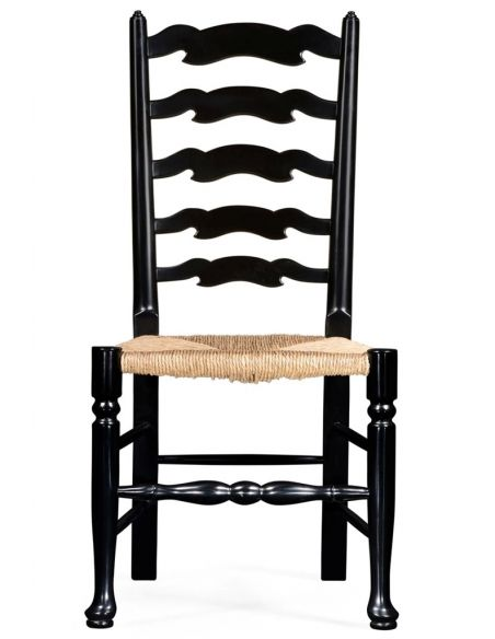 Dining Chairs Country Style Black Ladder Back Dining Side Chair