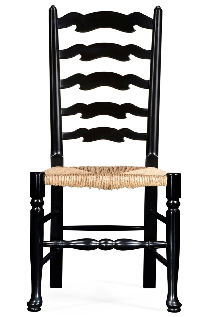 Country style black ladder back dining side chair - Ladder back dining room chairs ...