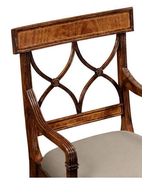 Dining Chairs Regency Style Crotch Walnut Dining Armchair