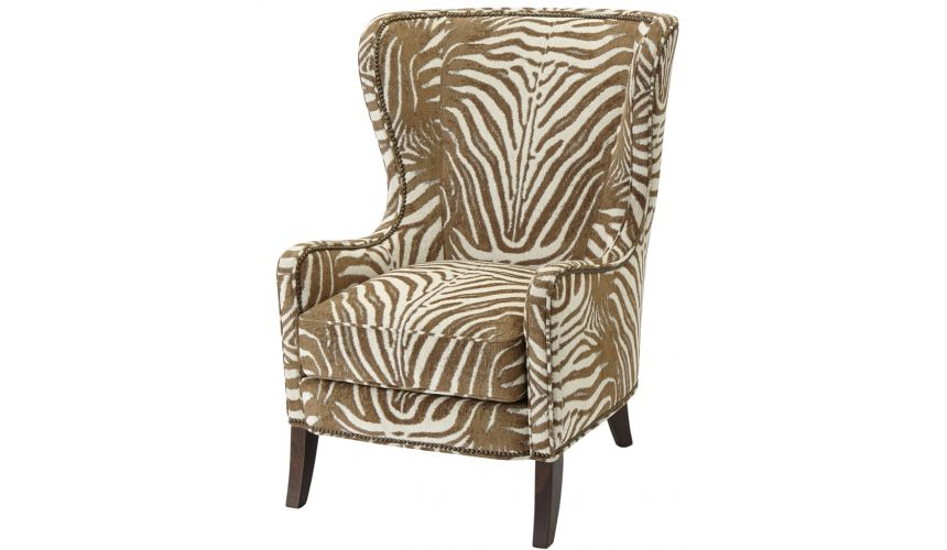 Luxury Leather & Upholstered Furniture Patterned Upholstered Wingback Arm Chair