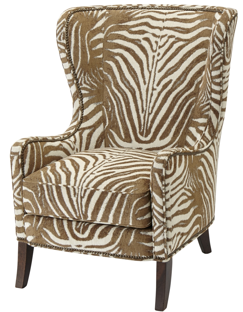 Luxury Leather U0026 Upholstered Furniture Patterned Upholstered Wingback Arm  Chair