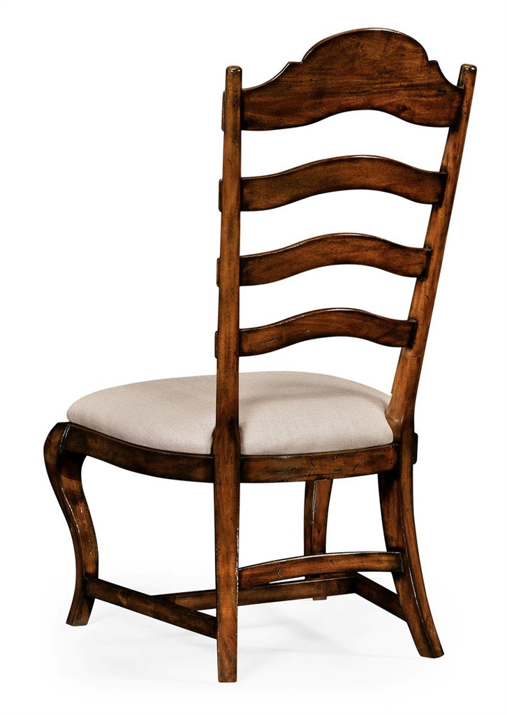 Rustic ladder back dining side chair with cabriole legs - Ladder back dining room chairs ...