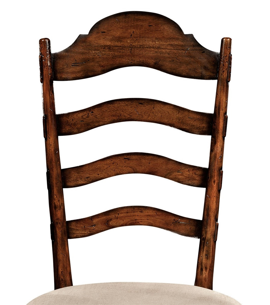 Rustic ladder back dining side chair with cabriole legs Ladder back chairs