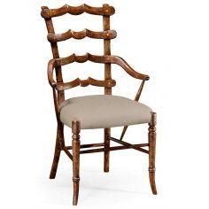 Classic Walnut Yoke Ladder Back Dining Armchair