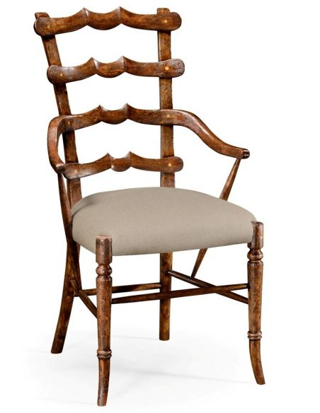 Dining Chairs Classic Walnut Yoke Ladder Back Dining Armchair
