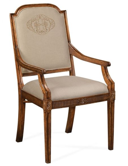 Dining Chairs 19th Century Style Dining Armchair with Golden Embroidery
