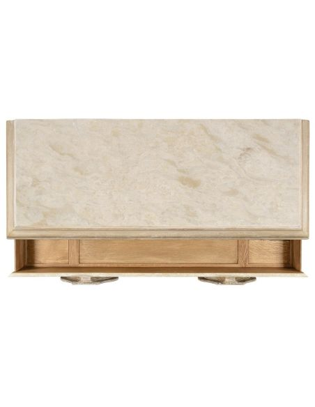 Breakfronts & China Cabinets Stylish Limed Acacia Chest of Drawer Marble Top