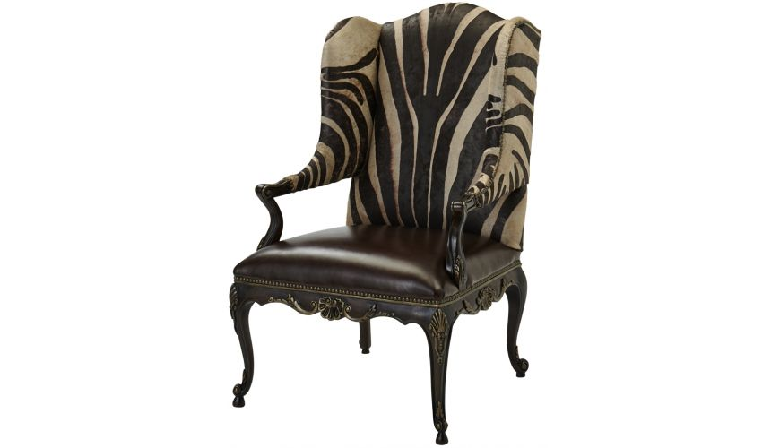 Luxury Leather & Upholstered Furniture Patterned Wingback Arm Chair